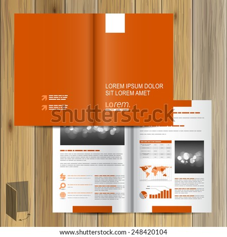 Classic orange brochure template design with white element. Cover layout