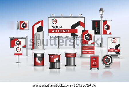 Classic outdoor advertising design for corporate identity with color geometric elements. Stationery set