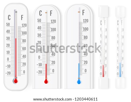Classic outdoor and indoor fahrenheit and celsius thermometers set for meteorological measurements realistic vector illustration