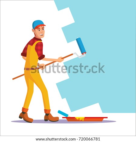 Classic Painter Vector. Painting Wall With Brush. House Painter With Paintbrush. Isolated On White Cartoon Character Illustration