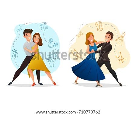 Classic pair dance 2 web templates set with tango and waltz moves background retro isolated vector illustration
