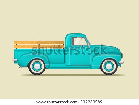 classic pickup truck. flat...