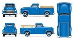 Classic pickup truck vector mockup on white background. Isolated blue vintage lorry view from side, front, back, top. All elements in the groups on separate layers for easy editing and recolor.