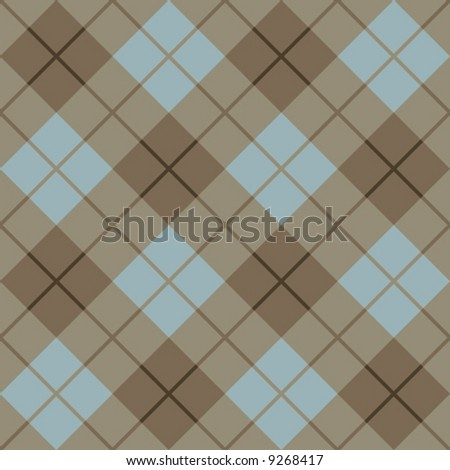 Classic plaid pattern in blue and browns.