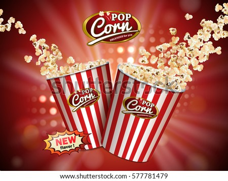 Classic popcorn ads, delicious popcorn flying out of cardboard box which is white and red striped isolated on red illuminated background in 3d illustration