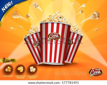 Classic popcorn flying out of cardboard box isolated on yellow striped background in 3d illustration, three flavors for choose