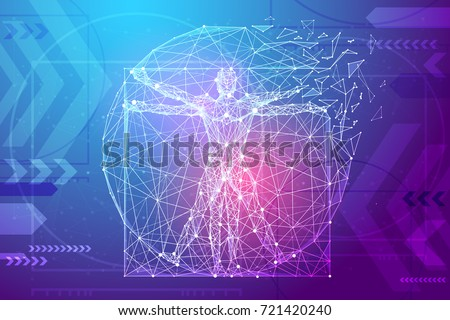 Classic proportion man in the form of a starry sky or space, consisting of point, line, and shape in the form of planets, stars and the universe. Vector wireframe concept. Blue purple