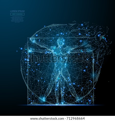 classic proportion man low poly wireframe. Vector polygonal image in the form of a starry sky or space, consisting of points, lines, and shapes in the form of stars with destruct shapes