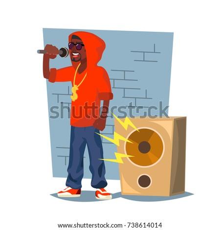 classic rapper man vector