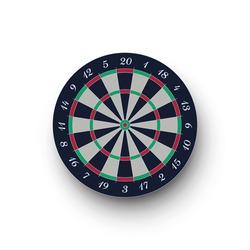 Classic realistic darts board isolated on white background. Dartboard with twenty sectors, target, game competition. Vector illustration of game mockup, metaphor of hit bullseye, goal achievement