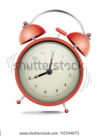 Classic red alarm clock over white background - stock vector