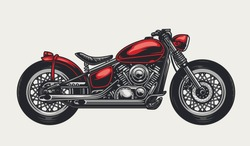 Classic red motorcycle concept in vintage style isolated vector illustration
