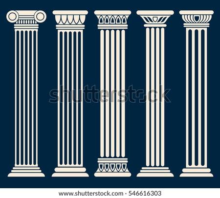Classic roman, greek architecture columns vector set.
