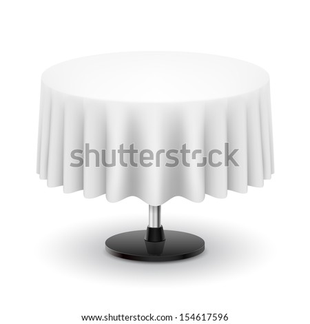 Classic round table with white cloth isolated on white background.