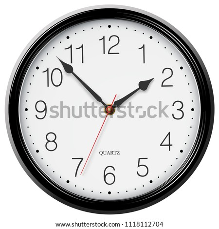 Classic round wall clock with black glossy body isolated on white background. Vector illustrator.