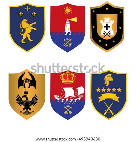 classic royal emblem badge shield vector illustration