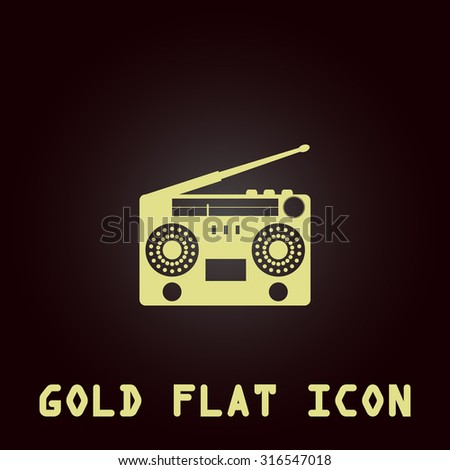 Classic 80s boombox. Gold flat vector icon. Symbol for web and mobile applications for use as logo, pictogram, infographic element