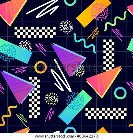 Classic 1980's seamless pattern. Vector illustration.