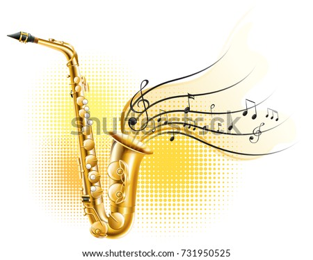 Classic saxophone with music notes illustration