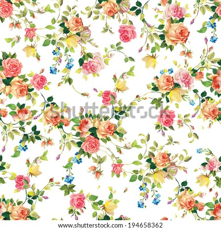 Classic seamless vintage flower pattern on white background