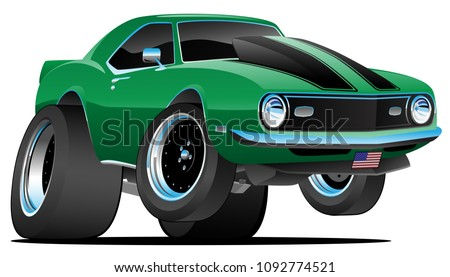 Classic Sixties Style American Muscle Car Cartoon Vector Illustration