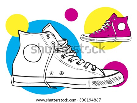 classic sneaker sketched vector