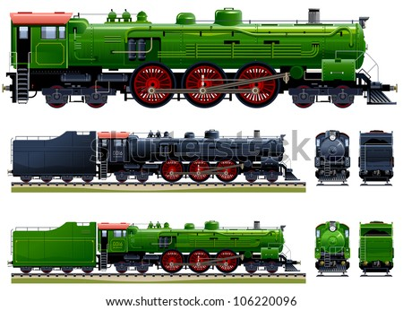 Classic steam locomotive (Train #10). Pixel optimized. Elements are in the separate layers. In the side, back and front views.  Please see my portfolio for the cars ( Image ID: 106220648 )