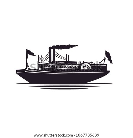 Classic Steamboat / Steamship Silhouette illustration