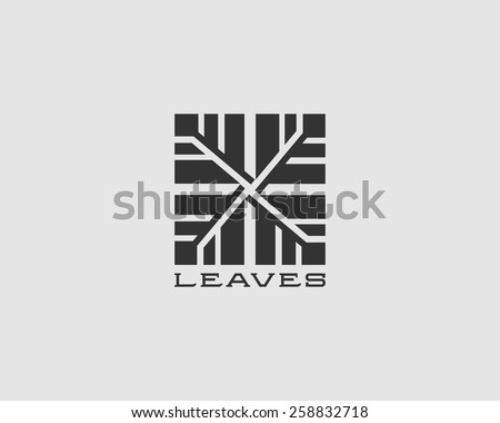 Classic strong abstract leaves tree logotype. Vector square sign