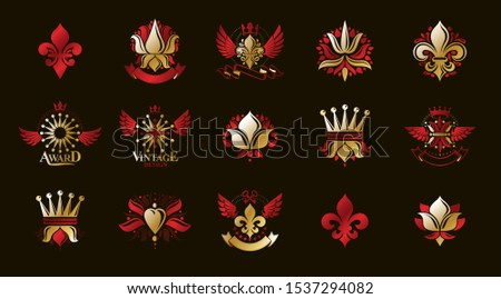 Classic style De Lis and crowns emblems big set, lily flower symbol ancient heraldic awards and labels collection, classical heraldry design elements, family or business emblems.