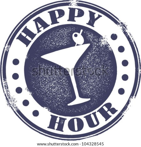 Classic Style Happy Hour Cocktail Stamp