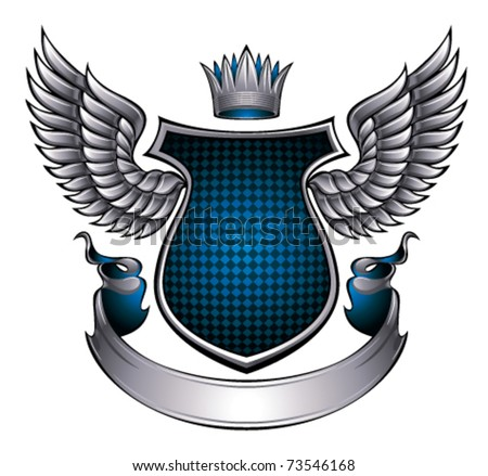 Classic style metallic emblem with wings, shield, ribbon and crown. With space for text and company name. Vector, eps8. - stock vector