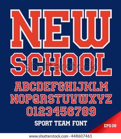 Classic style Sport Team font. Letters and numbers vector illustration.