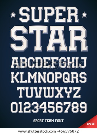 Classic style Sport Team slab serif font, metallic beveled alphabet and numbers. Upper case. Vector illustration.