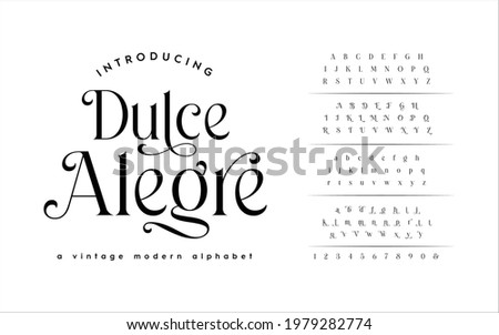 Classic Typography Minimal Fashion Designs. Typeface modern serif fonts and numbers. Elegant stylish alphabet letters font, ligatures, and number.