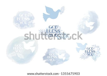 Classic, universal religious clip art God bless you. Tender blue elements for flyer, invitation, greetings cards