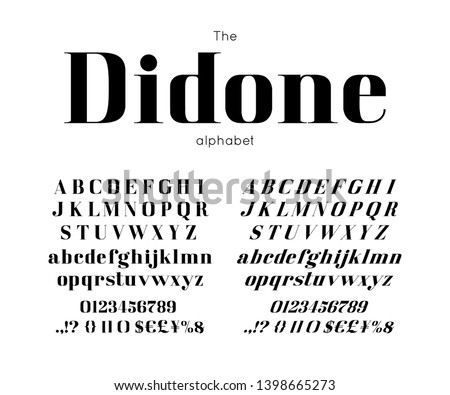 Classic vector bold serif didone font and alphabet. Vintage abc, elegant english letters and numbers