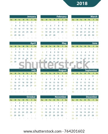 Classic vector calendar 2018 on a white background