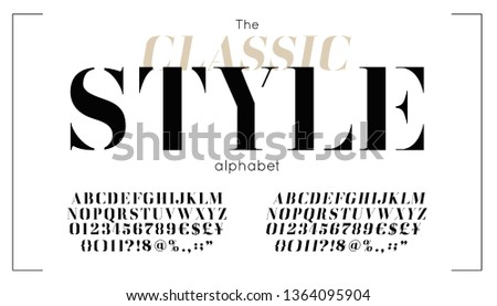 Classic vector serif font and alphabet. Vintage abc, elegant english letters and numbers