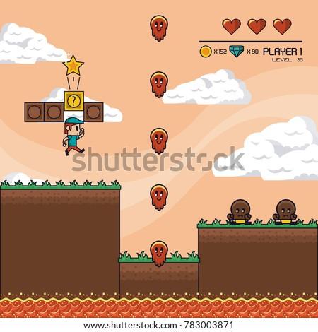 Classic videogame scenery