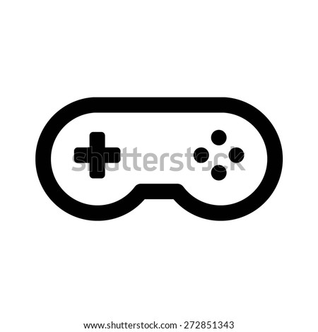 Classic videogame / video game arcade controller or retro gamepad line art vector icon for apps and websites