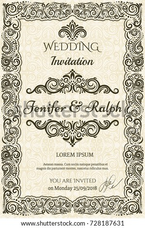 CLASSIC Vintage card with elegant decoration, calligraphic elegant FRAMES, elegant vignette, wedding invitation, diploma design etc. Damask ornamental BEIGE background.