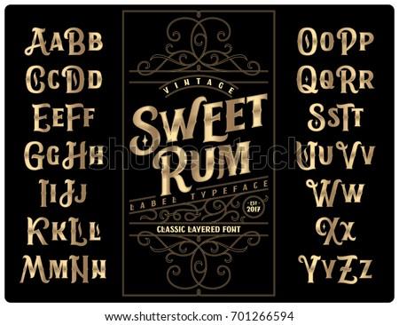 Classic vintage decorative font set named