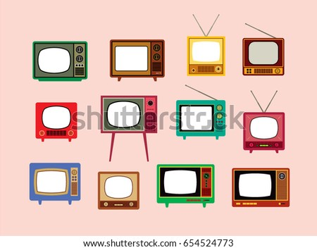 classic vintage television vector set