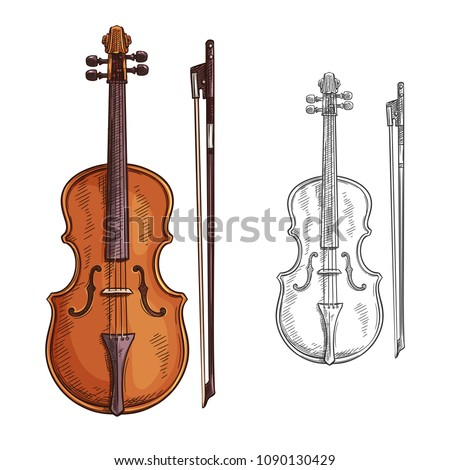 classic violin with bow vector