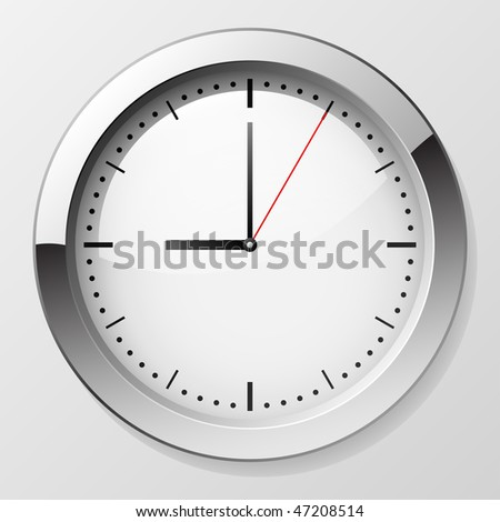 Classic wall clock with pointers at 9 o'clock symbolizing beginning of working day. EPS10 file.