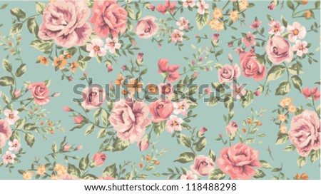 Classic Wallpaper Seamless Vintage Flower Pattern On Green Background