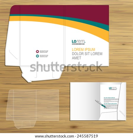 Classic white folder template design for corporate identity with color waves. Stationery set
