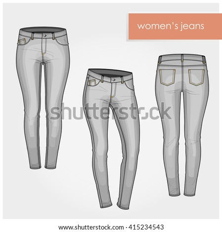 classic women jeans light gray