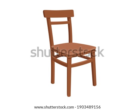 Classic wooden chair vector illustration on white background Foto stock ©